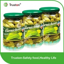 canned new season pickled gherkins
